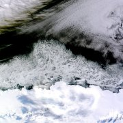 Natural-color image of sea ice off the coast of East Antarctica's Princess Astrid Coast (Image courtesy of NASA)