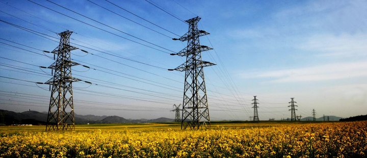 Electricity pylons rural China