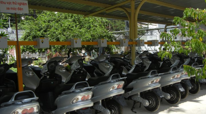 E-bikes at a charging station in Hanoi
