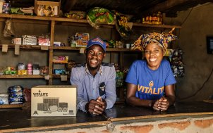 VITALITE Zambia Agent Mary Mpupuma (right) in her shop in Katoba Village.